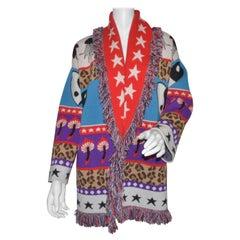 Alanui Mushrooms & Star Print Cashmere-Blend Cardigan Sweater