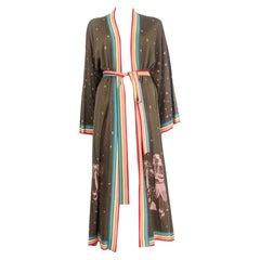 ALANUI olive green silk HAWAII MAP Kimono Knit Coat Jacket S