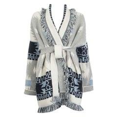 ALANUI white grey cashmere REGENERATED ICON Cardigan Knit Jacket L