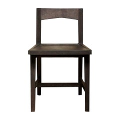 Modern Solid Oak Chair with Black Oil Finish for Dining / Writing Height Seating