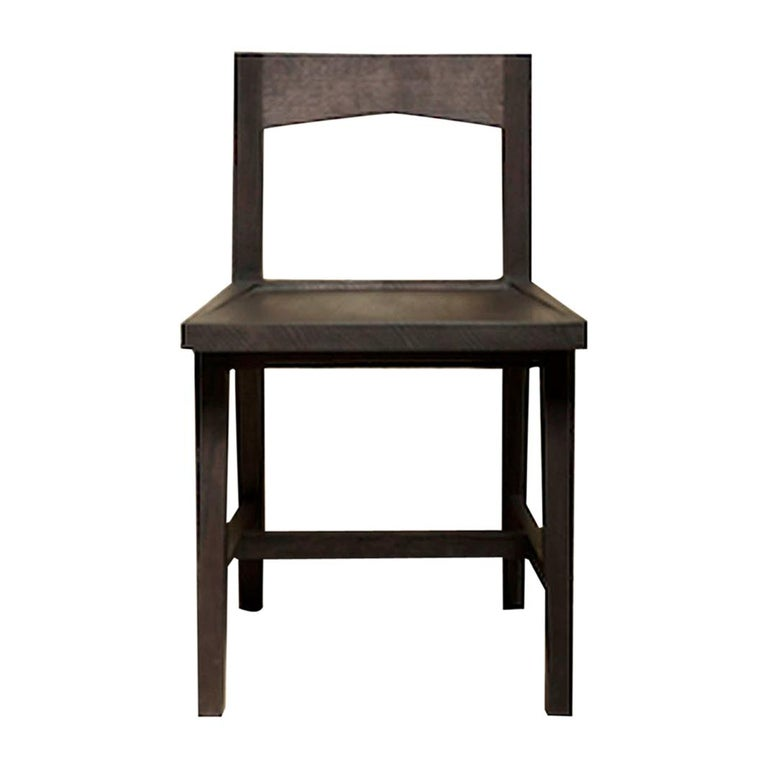 Modern Solid Oak Chair with Black Oil Finish for Dining / Writing Height Seating For Sale