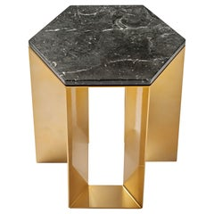 """ALATO"" Modern Metal Side table with Shiny gold Chrome and Black Marble top"