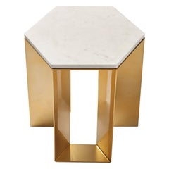 """Alato"" Modern Metal Side Table with Shiny Gold Chrome and White Marble Top"