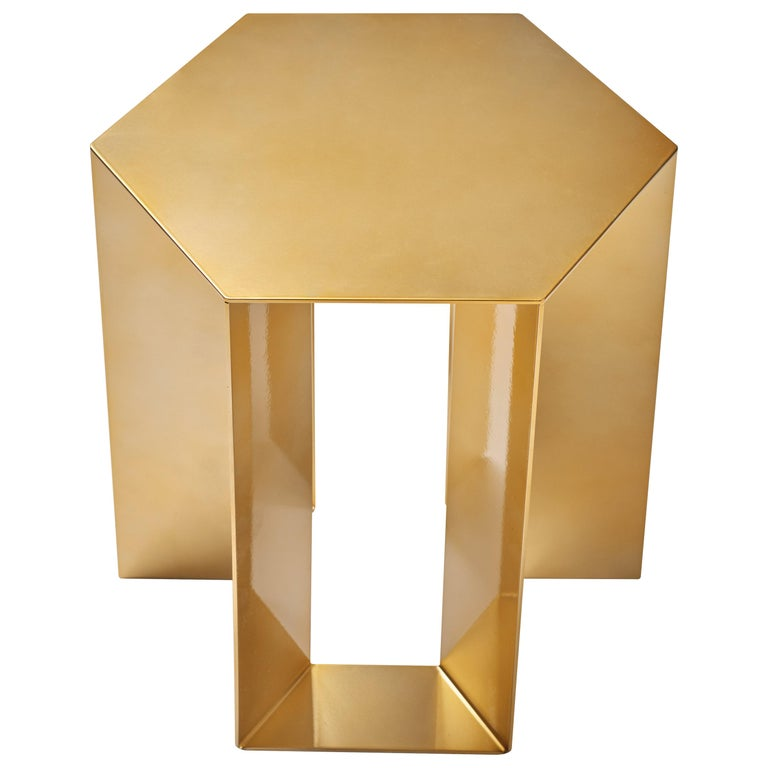 """""""Alato"""" Modern Sheet Metal Side Table with Shiny Gold Chrome For Sale"""