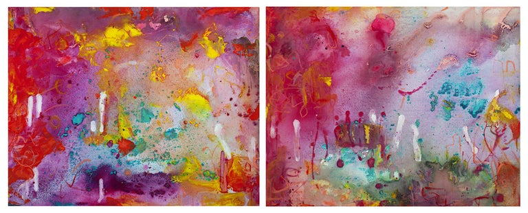 'Neon-A-Go-Go I and II' mixed media painting diptych signed by Alayna Rose For Sale 1