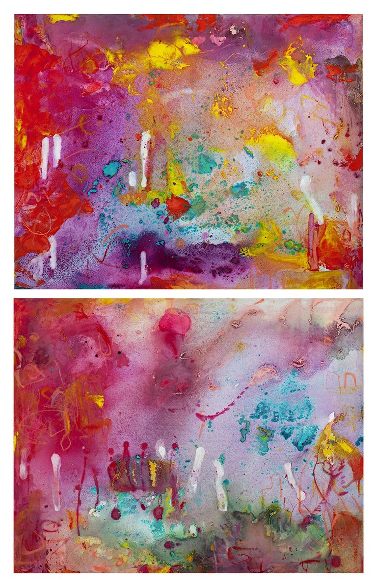 'Neon-A-Go-Go I and II' is an original mixed media diptych on canvas by Alayna Rose. The pair are an excellent example of her abstract language, allowing washes and layers of paint to build atop one another as though they are forms emerging from a
