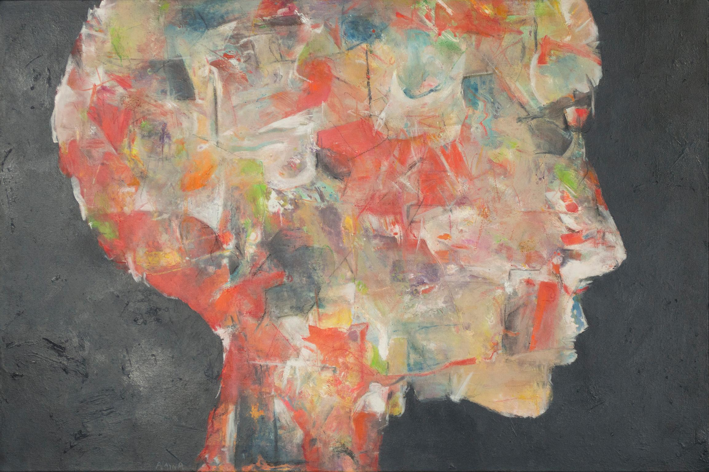 """""""One,"""" contemporary abstract expressionist oil painting on canvas by Alayna Rose"""