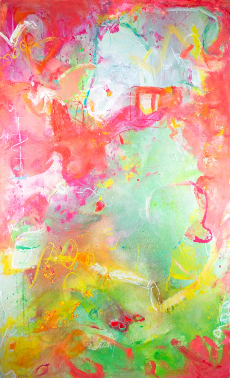 'Per l'avventura I' is an exquisite and colorful abstract painting signed by the American artist Alayna Rose. The painting is a quintessential example of her work, borrowing the language of the Abstract Expressionists imbued with the bright color