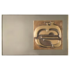 """Alba Sul Mare"" Mirror with Bronze Sculpture by Frigerio, Italy, 1970s"