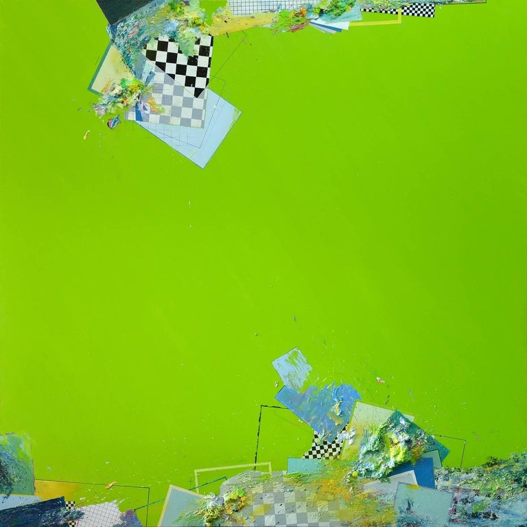 Atlas 1609, Banaue is a large-scale painting by Spanish contemporary artist Albano. This abstract work is comprised of a vivid green background, verging on monochromatic at first glance. This color springs from the artist's memory of his native