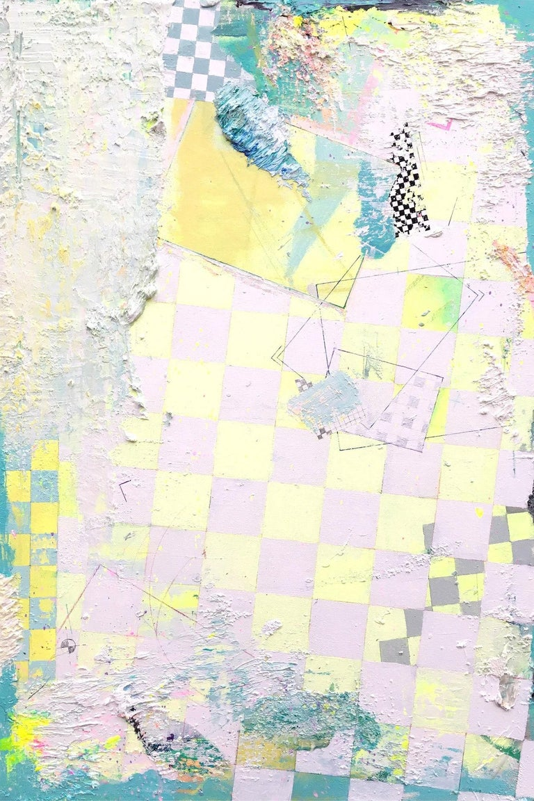 Atlas 1807, Oz (2018) is an abstract painting by Spanish contemporary artist Albano. This painting is comprised of geometric shapes, superimposed, mixed together. In the background, checkered patterns of various types, often a feature of Albano's