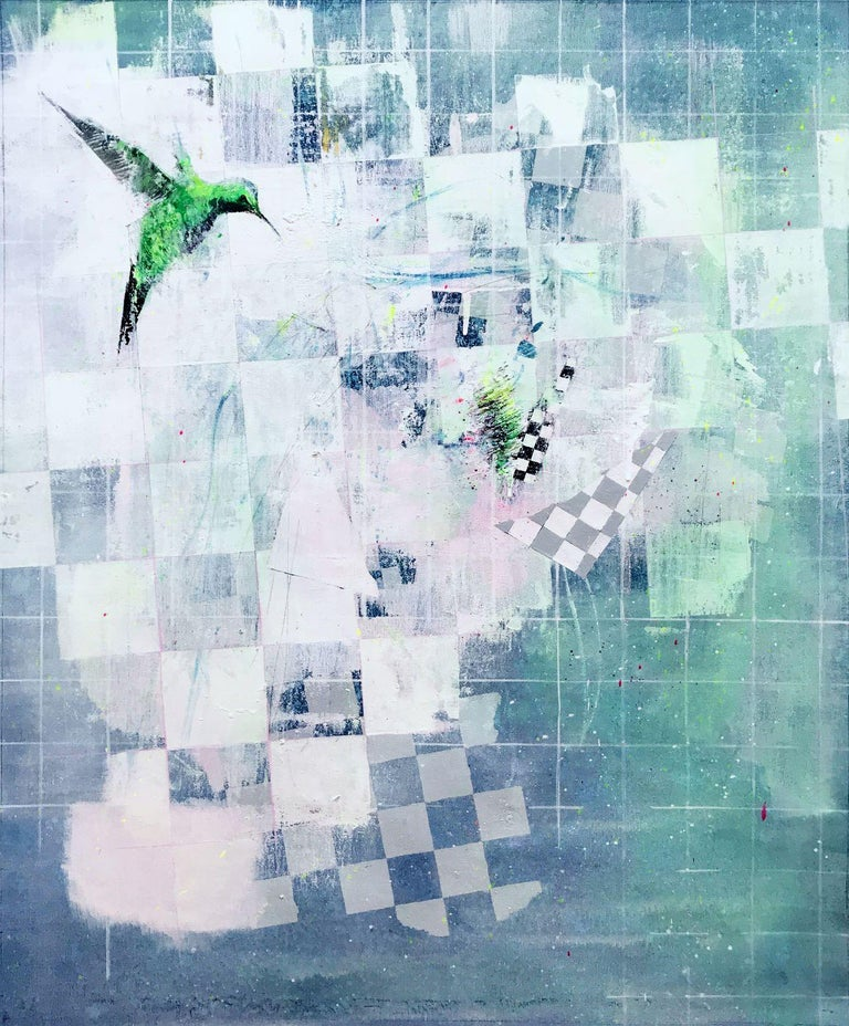 Atlas 1825, Tiko (2018) is a painting by Spanish contemporary artist Albano. Several checkered motifs - a recurrent feature in Albano's artwork - are hiding in amongst the geometric shapes. The diversity of the materials and the different motifs