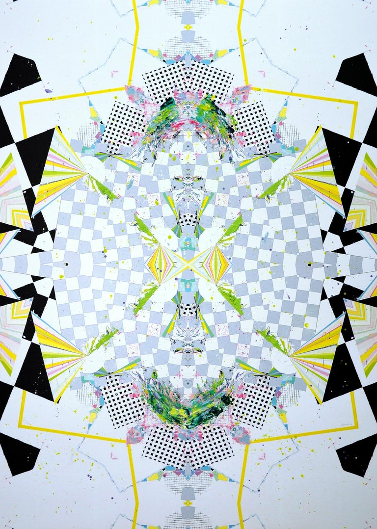 MX is an abstract painting by Spanish contemporary artist Albano. This work is comprised of various types of checkered patterns in shades of blue or blue and black which overlap. The peculiarity with this painting is the kaleidoscope effect obtained