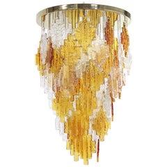 Albano Poli For Poliarte Italian Midcentury Murano Glass Flush Mount Chandelier