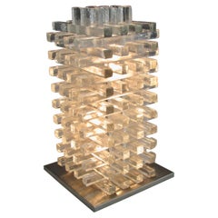 Albano Poli for Poliarte Jenga Stacked Clear Italian Glass Table Lamp