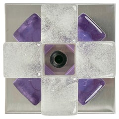 Albano Poli for Poliarte Sconce Wall Lamp Murano Glass & Steel, Italy, 1970s