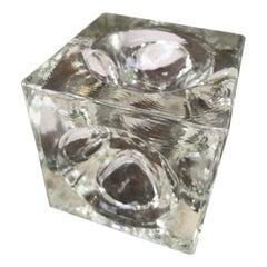 Albano Poli Glass Optic Cube for Poliarte, Verona, Italy, 1960s
