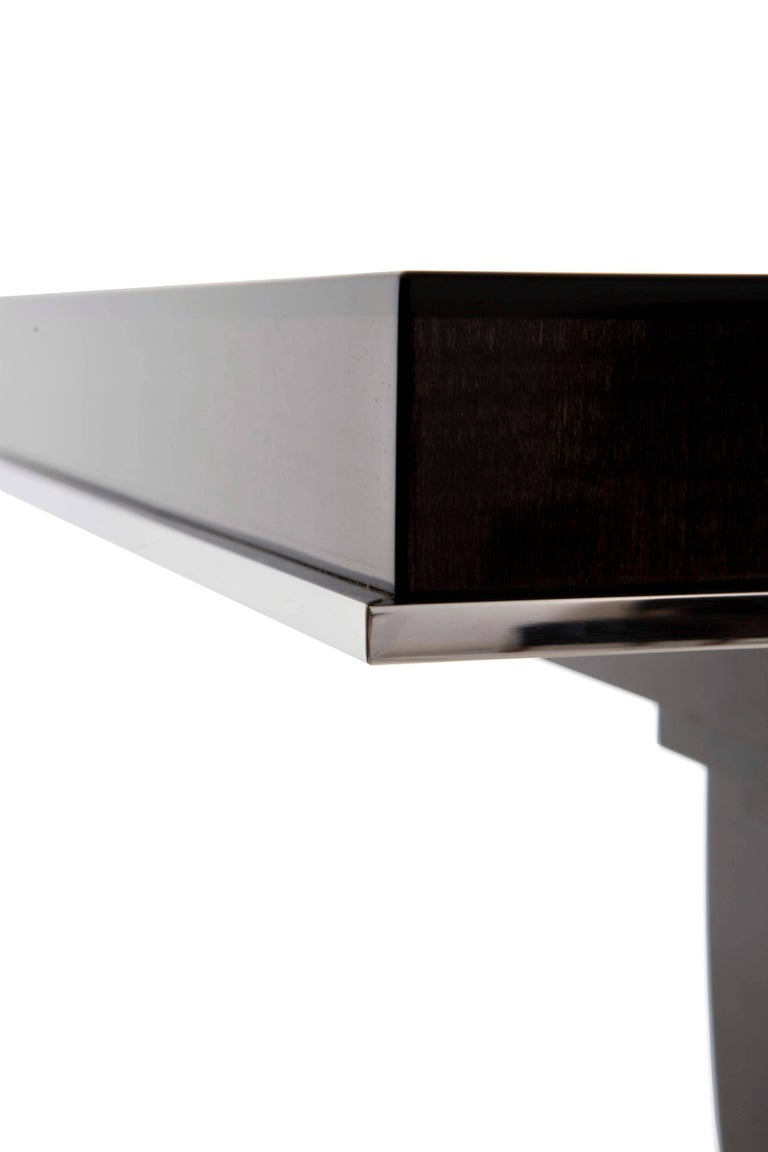 British Albany Console Table, High Gloss Sycamore Black and Polished Nickel For Sale