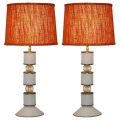 Albarelli Pair of Tall Matte White and Gold Murano Glass Lamps, circa 1960