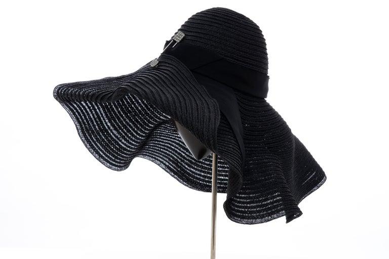 Alber Elbaz for Lanvin Black Woven Straw Sun Hat, Spring 2011 For Sale 7