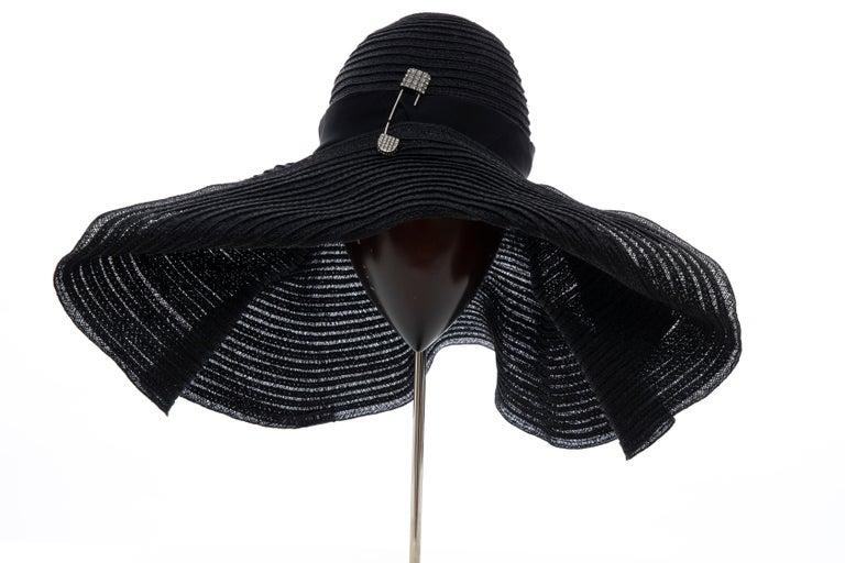 Alber Elbaz for Lanvin Black Woven Straw Sun Hat, Spring 2011 For Sale 8