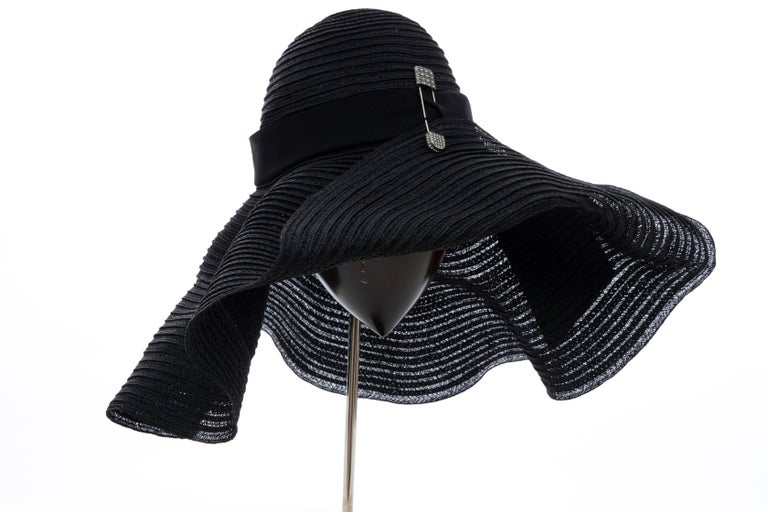 Women's Alber Elbaz for Lanvin Black Woven Straw Sun Hat, Spring 2011 For Sale