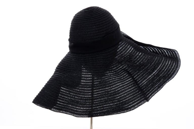 Alber Elbaz for Lanvin Black Woven Straw Sun Hat, Spring 2011 For Sale 2