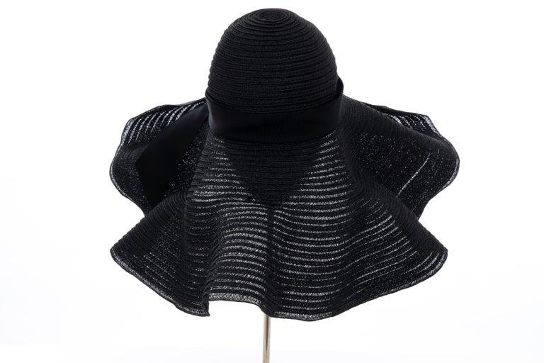 Alber Elbaz for Lanvin Black Woven Straw Sun Hat, Spring 2011 For Sale 3