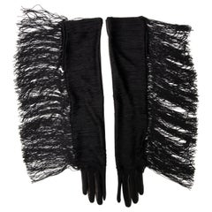 Alber Elbaz for Lanvin Runway Long Black Leather Fringe Gloves, Fall 2014
