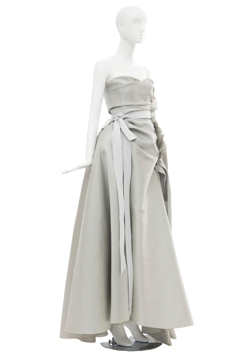Alber Elbaz for Lanvin, Resort 2014 silk dove grey strapless evening gown with sweetheart neckline, ruched bodice, boning at interior bodice, ruffle accent at side seam; ribbon trim at waist, high-low hem and zip closure at side seam.  Kim