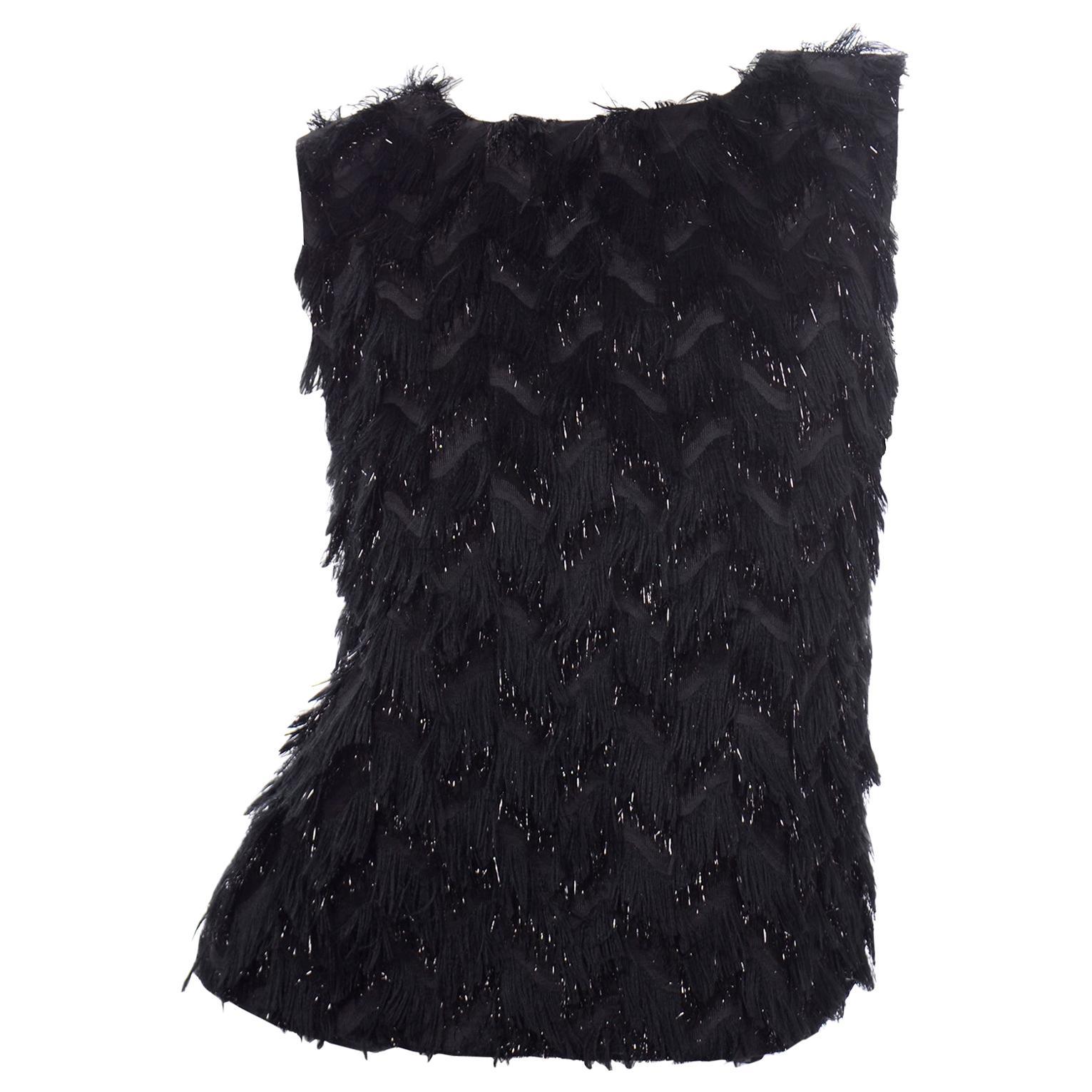 Alber Elbaz Lanvin Fall Winter 2014 Sleeveless Black Fringe Evening Top