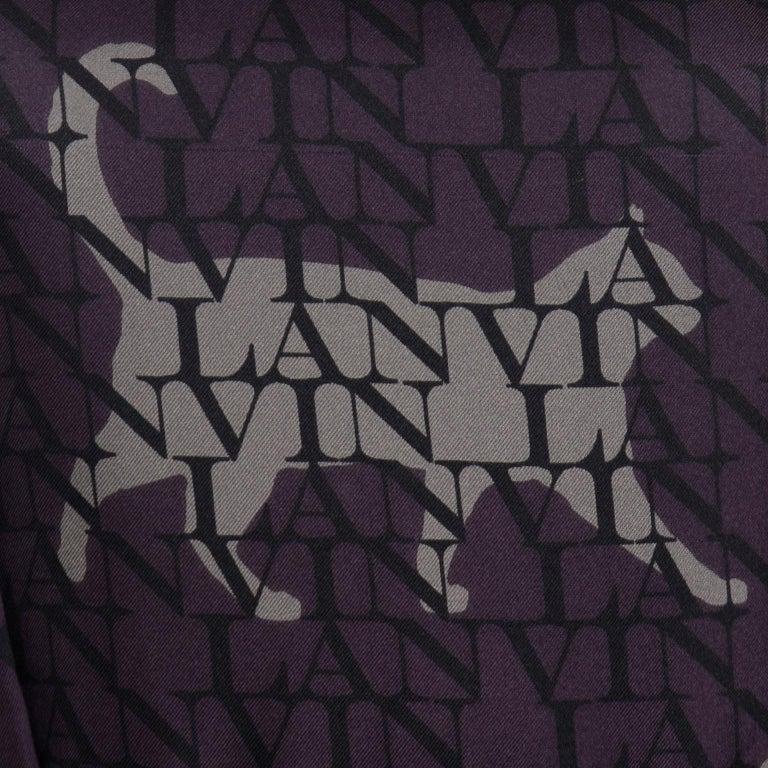 Alber Elbaz Lanvin Purple & Black 2011 Novelty Print Cat Logo Dress W Raw Edges For Sale 6
