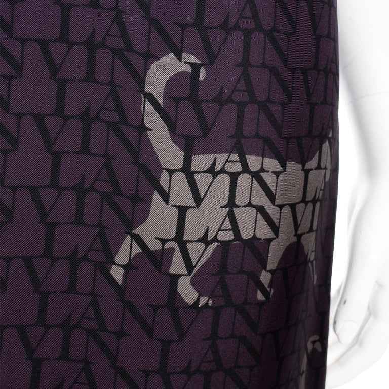 Alber Elbaz Lanvin Purple & Black 2011 Novelty Print Cat Logo Dress W Raw Edges For Sale 7