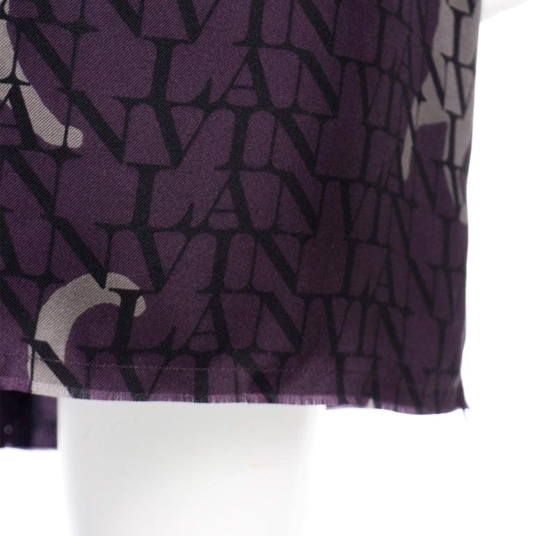 Alber Elbaz Lanvin Purple & Black 2011 Novelty Print Cat Logo Dress W Raw Edges For Sale 8
