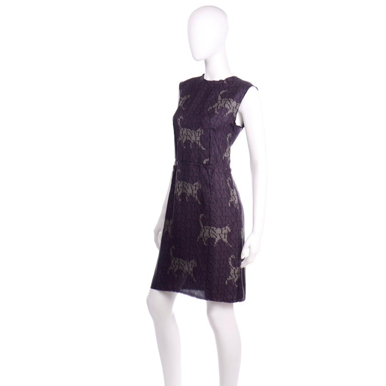 Alber Elbaz Lanvin Purple & Black 2011 Novelty Print Cat Logo Dress W Raw Edges In Excellent Condition For Sale In Portland, OR