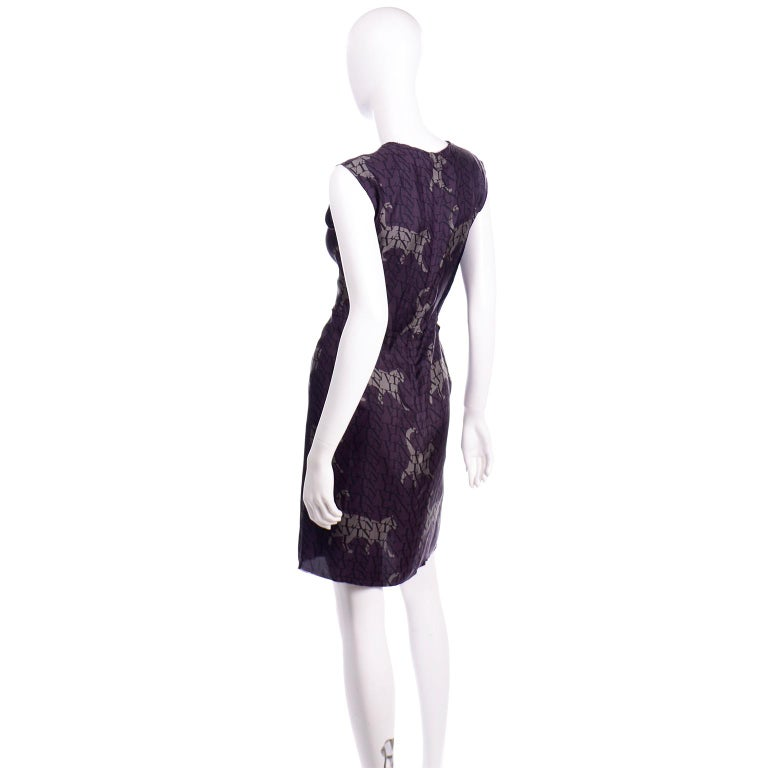 Women's or Men's Alber Elbaz Lanvin Purple & Black 2011 Novelty Print Cat Logo Dress W Raw Edges For Sale