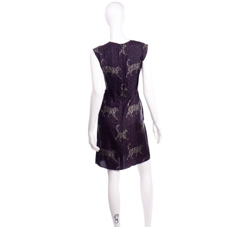 Alber Elbaz Lanvin Purple & Black 2011 Novelty Print Cat Logo Dress W Raw Edges For Sale 1