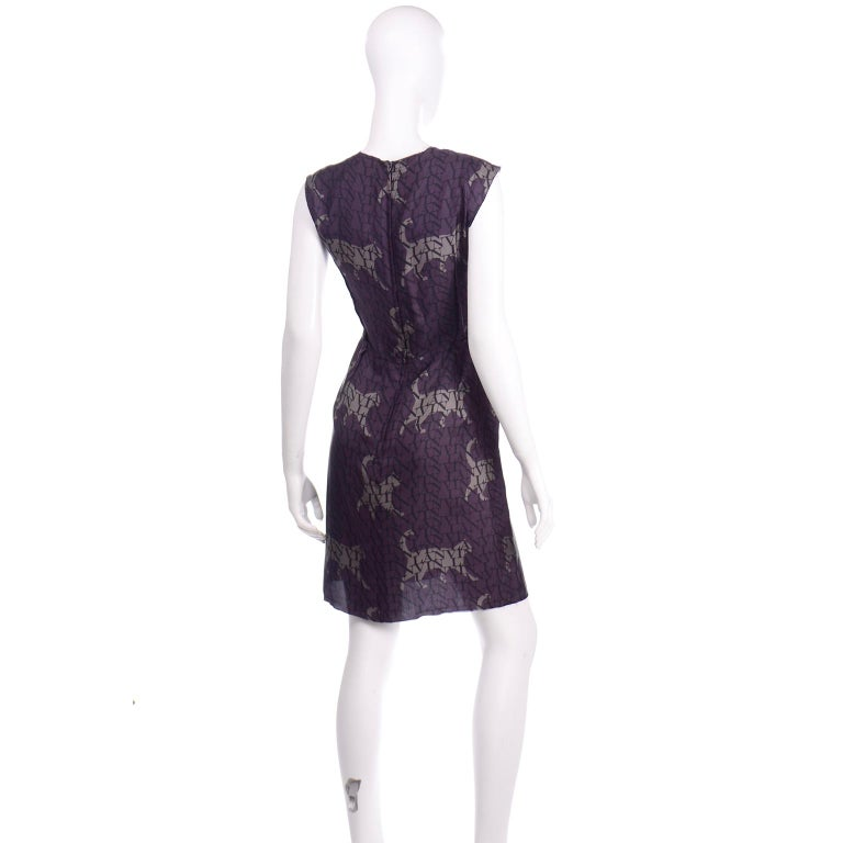 Alber Elbaz Lanvin Purple & Black 2011 Novelty Print Cat Logo Dress W Raw Edges For Sale 2
