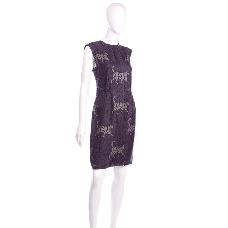 Alber Elbaz Lanvin Purple & Black 2011 Novelty Print Cat Logo Dress W Raw Edges For Sale 3