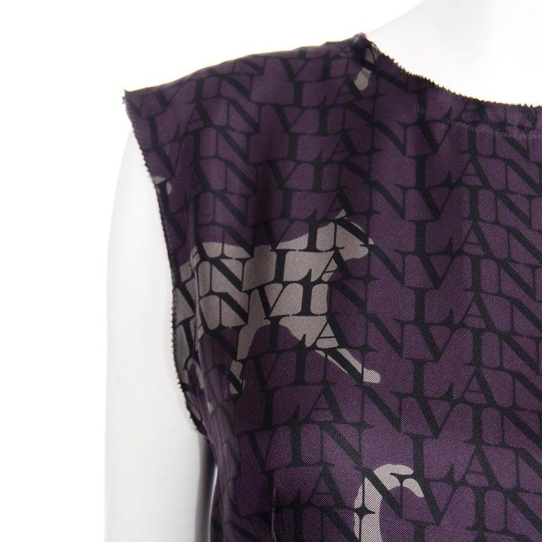 Alber Elbaz Lanvin Purple & Black 2011 Novelty Print Cat Logo Dress W Raw Edges For Sale 4