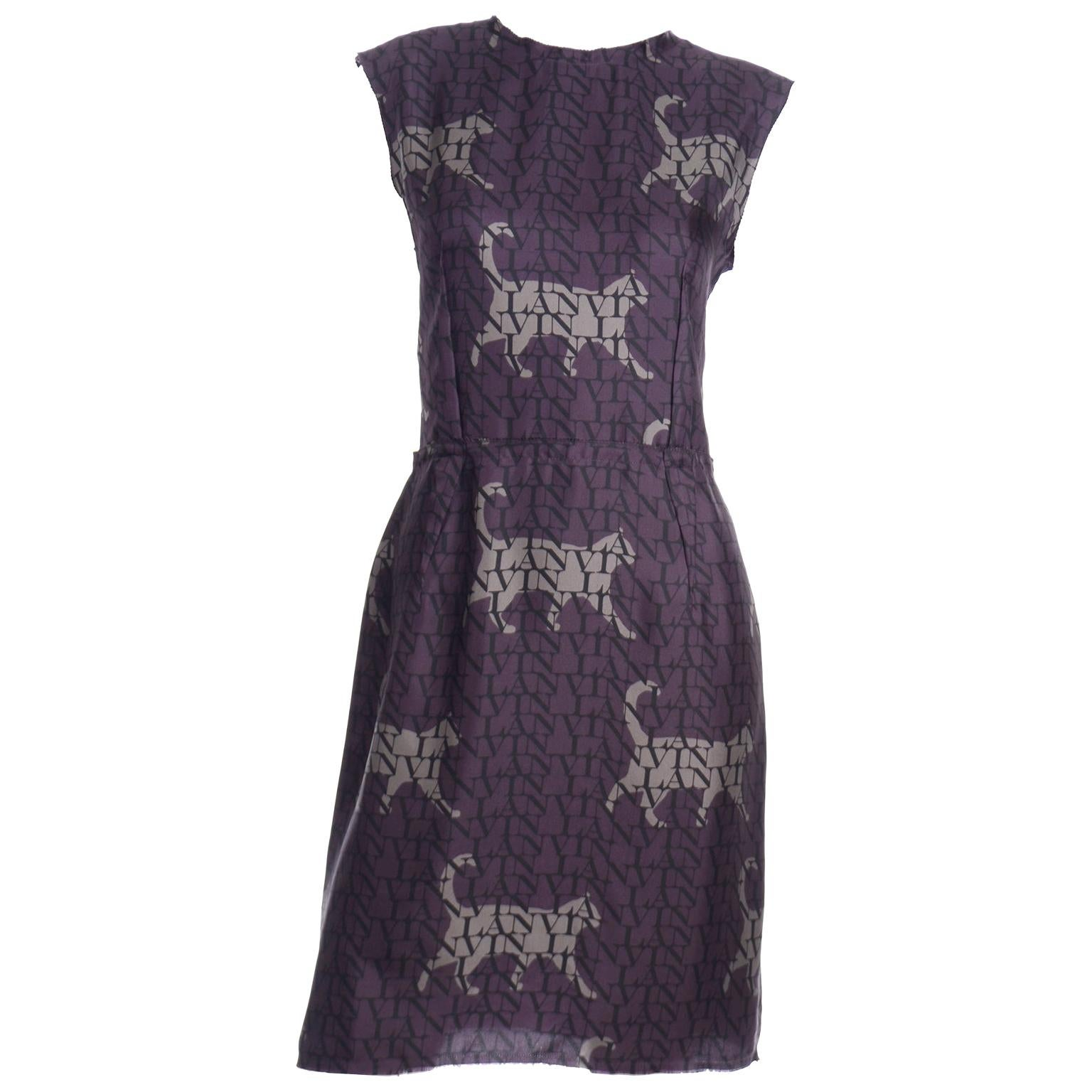 Alber Elbaz Lanvin Purple & Black 2011 Novelty Print Cat Logo Dress W Raw Edges