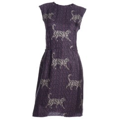 Alber Elbaz Lanvin Purple & Black 2011 Novelty Print Cat Logo Dress W Raw Edges