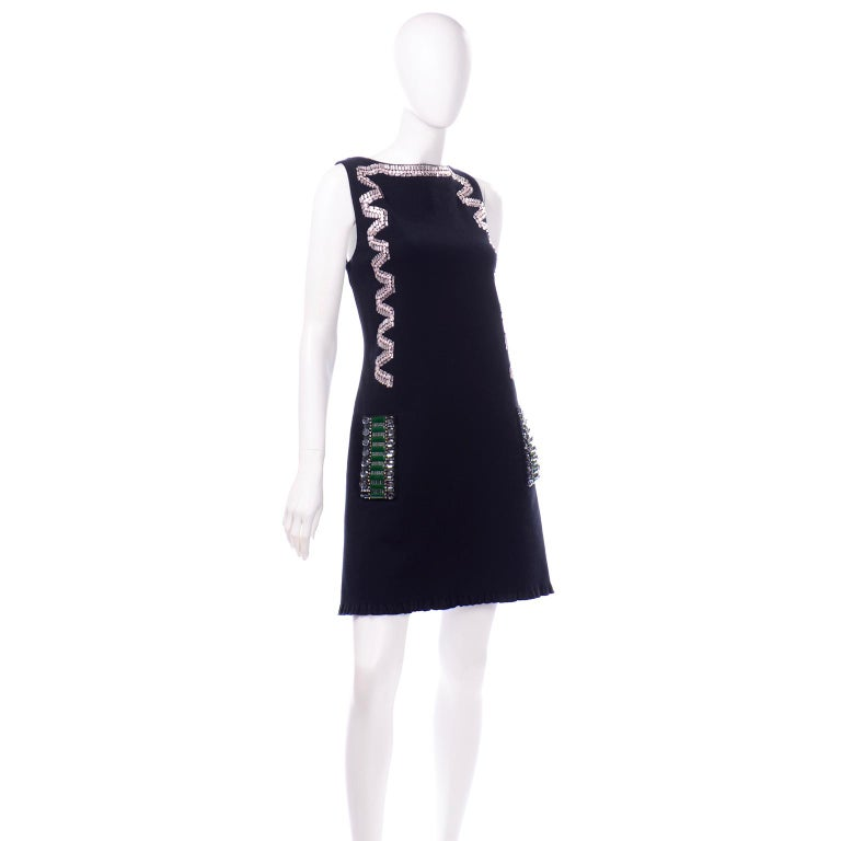 Alber Elbaz Lanvin Resort 2015 Midnight Blue Sleeveless Dress With Rhinestones In Excellent Condition For Sale In Portland, OR