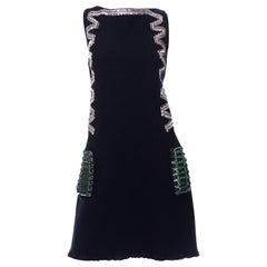 Alber Elbaz Lanvin Resort 2015 Midnight Blue Sleeveless Dress With Rhinestones