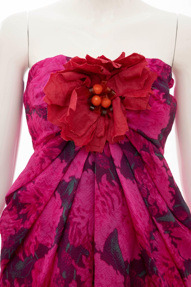 Alber Elbaz Lanvin Silk Printed Floral Embroidered Strapless Dress, Spring 2010 7