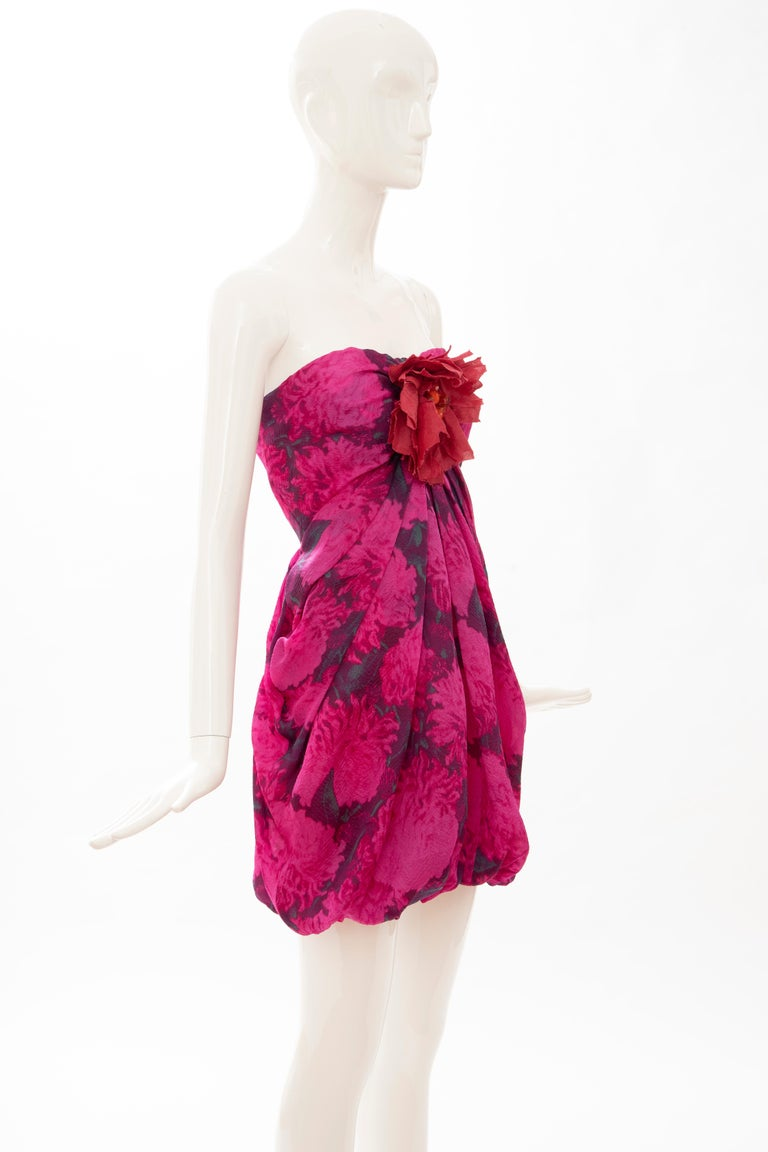 Red Alber Elbaz Lanvin Silk Printed Floral Embroidered Strapless Dress, Spring 2010