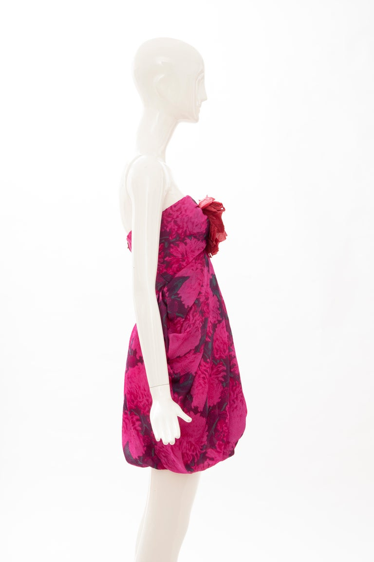 Alber Elbaz Lanvin Silk Printed Floral Embroidered Strapless Dress, Spring 2010 In Excellent Condition In Cincinnati, OH