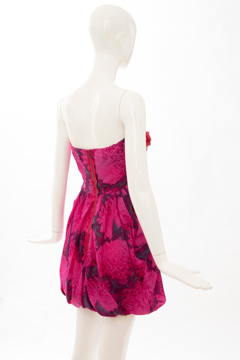 Women's Alber Elbaz Lanvin Silk Printed Floral Embroidered Strapless Dress, Spring 2010