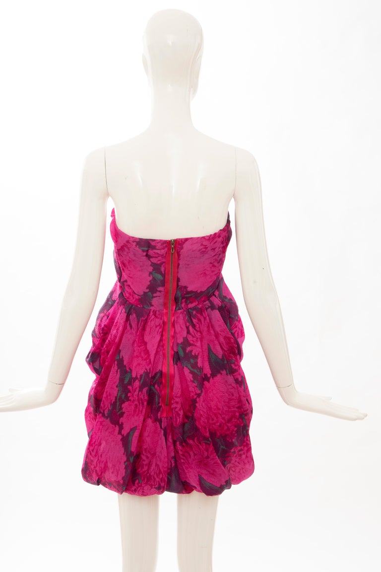 Alber Elbaz Lanvin Silk Printed Floral Embroidered Strapless Dress, Spring 2010 1