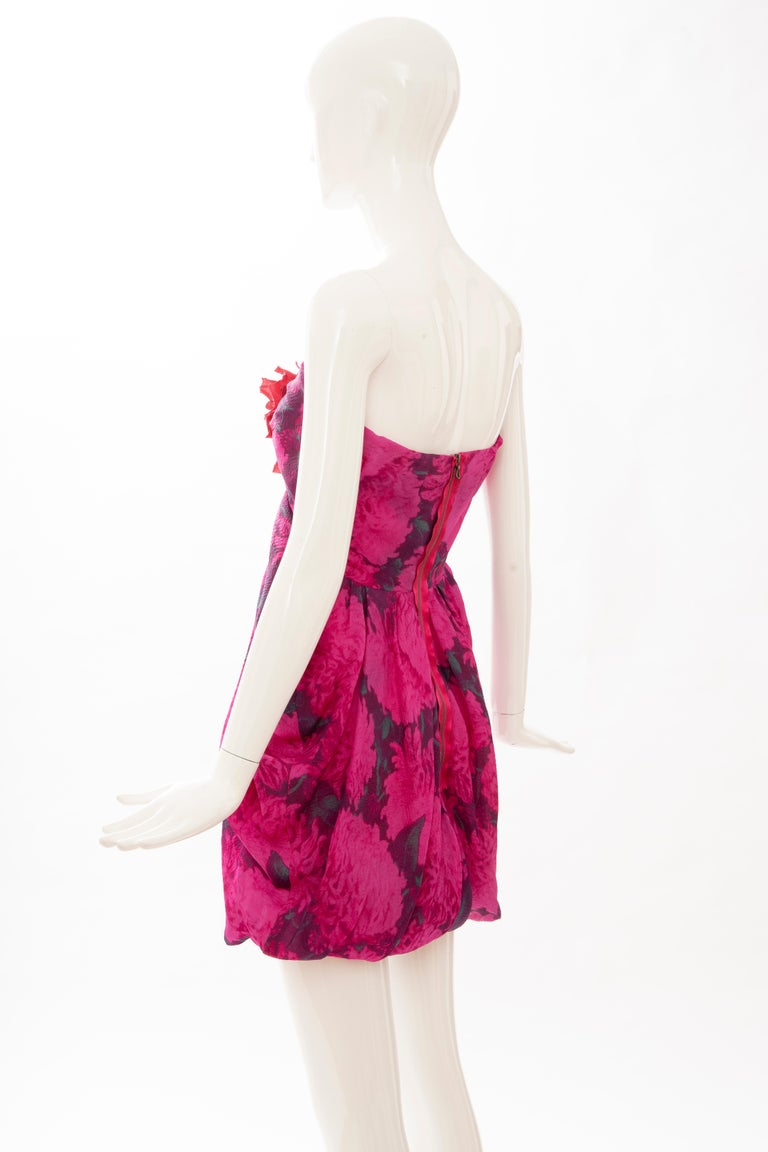 Alber Elbaz Lanvin Silk Printed Floral Embroidered Strapless Dress, Spring 2010 2